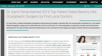 Dr. Kami Parsa Named 2019 Top Patient Rated Beverly Hills Oculoplastic Surgeon Beverly Hills, CA