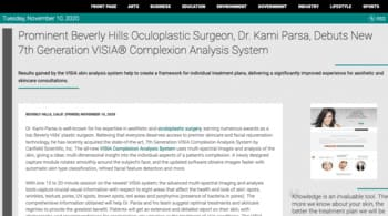 Prominent Beverly Hills Oculoplastic Surgeon, Dr. Kami Parsa, Debuts New 7th Generation VISIA® Complexion Analysis System Beverly Hills, CA